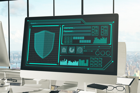 security monitor: Close up of creative designer desktop with antivirus interface on computer screen, coffee cup, supplies and other items. Panoramic city view in the background. Guard concept. 3D Rendering