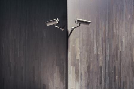 CCTV 카메라 복사본 공간이 건물 외관에. 가드 개념입니다. 3D 렌더링