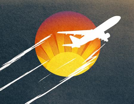 暗い背景に飛行機のスケッチを取る抽象