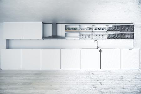 未完成キッチン プロジェクト。デザイン コンセプト。3 D レンダリング 写真素材