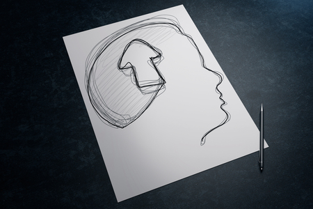 Paper sheet with male head and arrow drawing and pen on dark desk. 3D Rendering Stok Fotoğraf