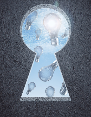 Abstract concrete wall with keyhole opening, sky and light bulb rain view. Idea concept. 3D Rendering