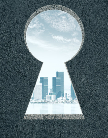 Abstract concrete wall with keyhole opening and city view. Accessibility concept. 3D Rendering