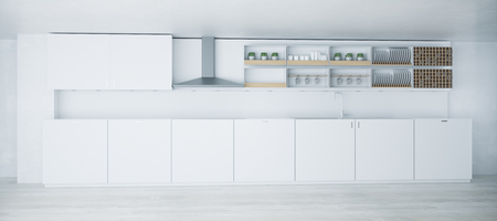 White light kitchen interior with furniture and equipment. 3D Rendering