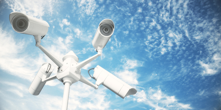 White CCTV cameras on bright blue sky background. Robbery concept. 3D Rendering