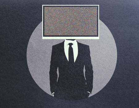 Abstract TV screen headed businessman on dark background Reklamní fotografie
