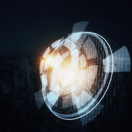Zijaanzicht van abstracte digitale knoop op donkere stadsachtergrond. Innovatie concept. 3D-weergave