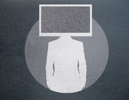 Abstract TV screen headed businessman silhouette on dark background Stock Photo
