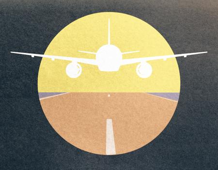 暗い背景に飛行機の画像を離陸黄色 写真素材
