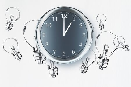 Clock on white background with lamps sketch. Idea concept. 3D Rendering