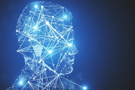 Abstracte veelhoekige mannelijke hoofd portrairt op blauwe achtergrond. Innovatie concept. 3D-weergave
