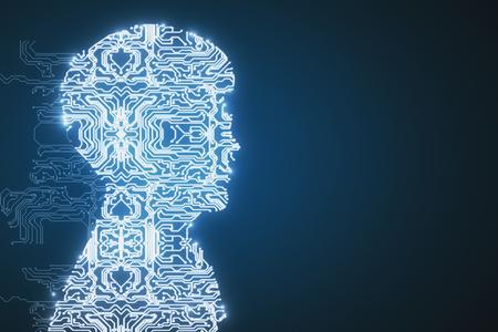Copyspace와 파란색 배경에 추상 회로 측면 남성 초상화. 컴퓨터 개념입니다. 3D 렌더링