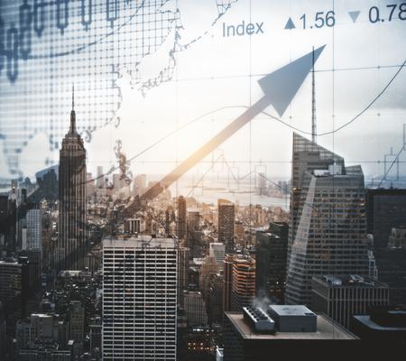 Abstracte forex grafiek stad achtergrond. Financiën concept. Dubbele blootstelling Stockfoto