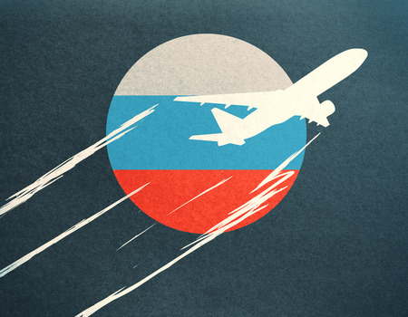 Abstract taking off airplane drawing with Russian flag on dark background Stock Photo