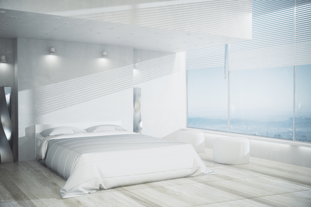 Stylish bedroom interior with white furniture, wooden floor and panoramic view. Design concept. 3D Rendering Stock Photo