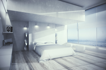 Cozy bedroom interior with white furniture, wooden floor and panoramic view. Design concept. 3D Rendering