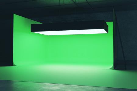 Modern fotostudio-interieur met professionele lichtintapparatuur. 3D-weergave