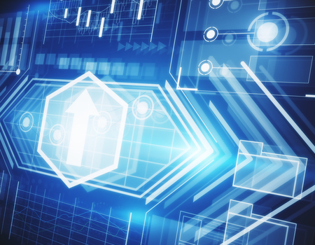 Abstracte financiële bedrijfs grafiek hologram achtergrond. Technologie concept. 3D-rendering Stockfoto