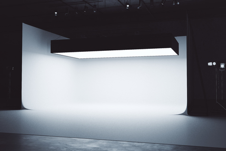 Bright photo studio interior with professional lightint equipment. 3D Rendering Stock Photo