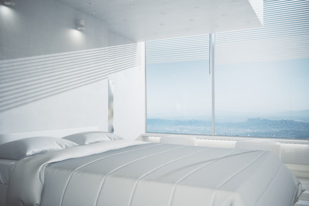 Light bedroom interior with white furniture, wooden floor and panoramic view. Design concept. 3D Rendering Stock Photo