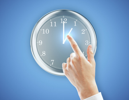 Hand pointing at clock on bright blue background. Accuracy concept. 3D Rendering