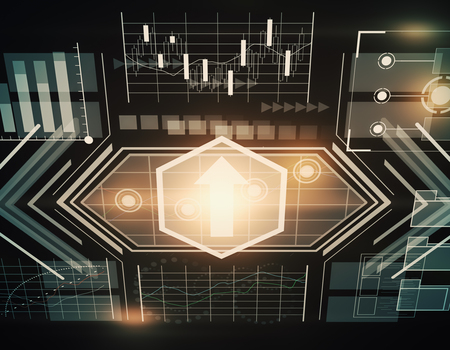 Abstract glowing business chart hologram wallpaper. Technology concept. 3D Rendering