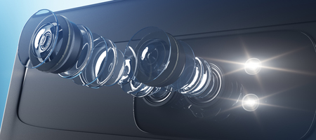 스마트 폰용 현대 듀얼 카메라 시스템 기술 설명. 밝은 배경에 장치의 내부 회로입니다. 매트릭스 개념입니다. 3D 렌더링 스톡 콘텐츠