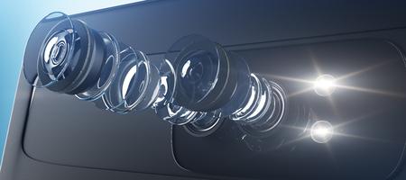 Technische illustratie van modern dubbel camerasysteem voor smartphone. Intern circuit van apparaat op lichte achtergrond. Matrix concept. 3D-weergave