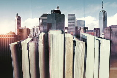 Abstract books on creative city background. Literature concept. Double exposure Stock Photo