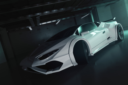 garage: Side view of contemporary white sportscar inside grunge garage. Race concept. 3D Rendering