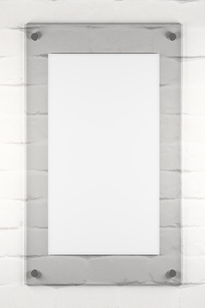 Empty glass poster on white brick background. Advertising, gallery, exhibition concept. Mock up, 3D Rendering