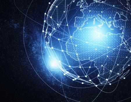 グローバル ブルー ネットワーク背景を抽象化します。インターネット概念。3 D レンダリング 写真素材