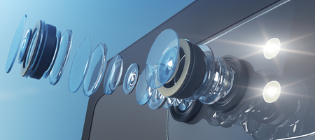 Ilustración técnica del moderno sistema de doble cámara para teléfonos inteligentes. Circuito interno del dispositivo en fondo claro. Concepto del sensor Representación 3D