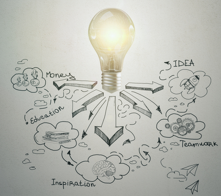 Glowing lamp on chalkboard wall background with business sketch. Innovation concept. 3D Rendering
