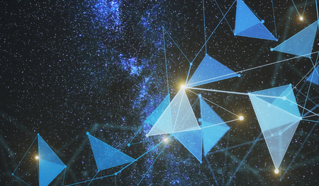Abstract space low poly polygonal backdrop. Technology concept. 3D Rendering Stock Photo - 86055515