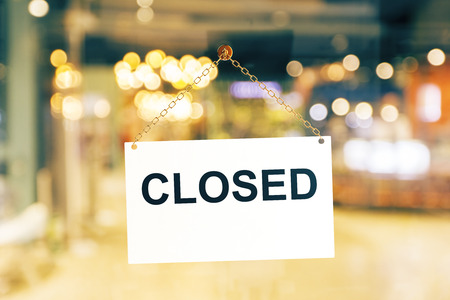Close up of white closed sign hanging on glass door. Blurry background. Working hours concept. 3D Rendering Stock Photo - 86055523