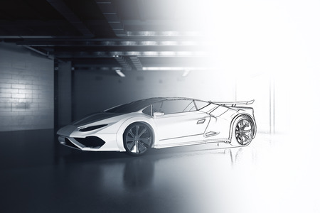 Unfinished car design in grunge garage. Prototype concept. 3D Rendering 스톡 콘텐츠