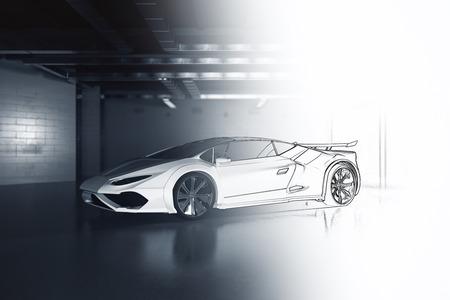 Onvoltooide auto-ontwerp in grunge garage. Prototype concept. 3D-rendering Stockfoto
