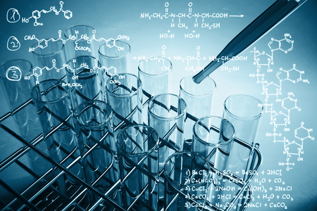 Blue lab equipment and chemical formulas on light background. Research concept. 3D Rendering Stock Photo
