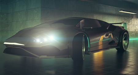 Modern sports car with glowing headlights inside grunge garage. Elegance concept. 3D Rendering