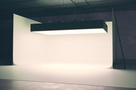 Hedendaags fotostudio interieur met professionele verlichtingsapparatuur. 3D-rendering