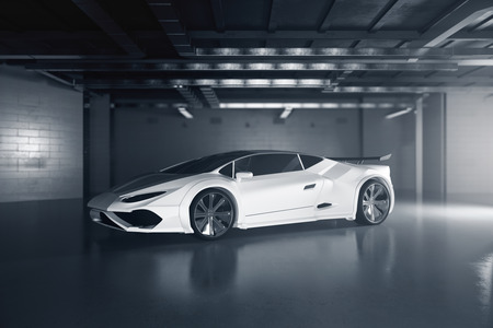Side view of new white sportscar inside grunge garage. Race concept. 3D Rendering Archivio Fotografico