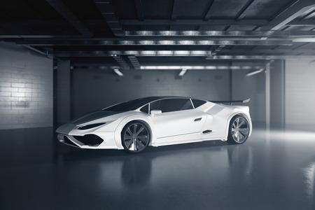 Vue de côté de la nouvelle voiture de sport blanche à l'intérieur du garage grunge. Concept de course. Rendu 3D