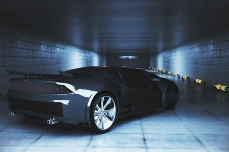 그런 지 차고 안에 현대 블랙 스포츠카의 측면보기. 경주 개념입니다. 3D 렌더링 스톡 콘텐츠