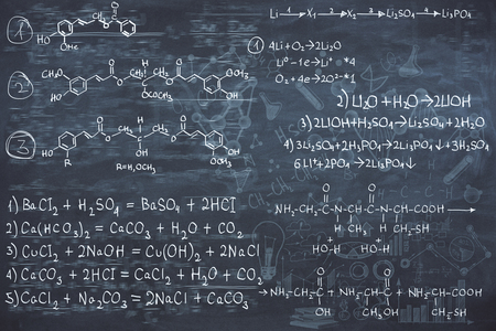 Chalkboard with chemical formulas. Science concept