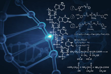 Abstract background with blue dna molecule and chemical formulas. Medicine and innovation concept. 3D Rendering Stock Photo