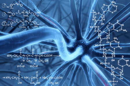 Abstract background with blue molecule and chemical formulas. Medicine and solution concept. 3D Rendering Stock Photo