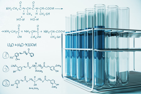 Niebieski sprzęt laboratoryjny i wzory chemiczne na jasnym tle. Biotechnologia i koncepcja laboratoryjna. Renderowanie 3D