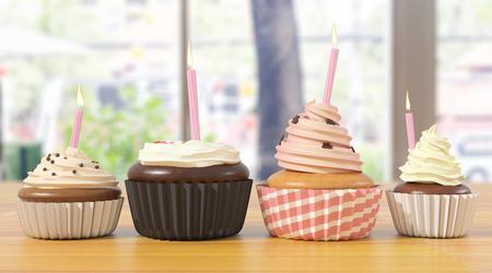 ぼやけて背景にキャンドルのカップケーキの品揃え。お祝い、誕生日、ベーカリー コンセプト。3 D レンダリング
