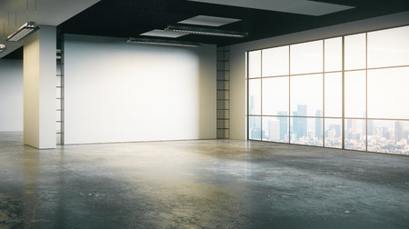 Clean grunge concrete office interior with empty wall and city view. Mock up, 3D Rendering